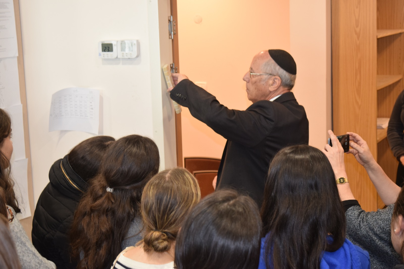 Affixing the Mezuzah to our Beit Midrash